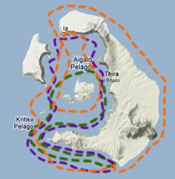 Map of Santorini Sailing standard cruise itineraries